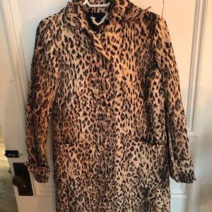 J-Crew Leopard Rain Coat Jacket size 2